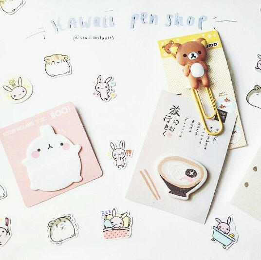 Super cute stickers, sticky notes and Rilakkuma paper clip from Kawaii Pen Shop. A mini haul by our dear customer @studioustudies. ♥