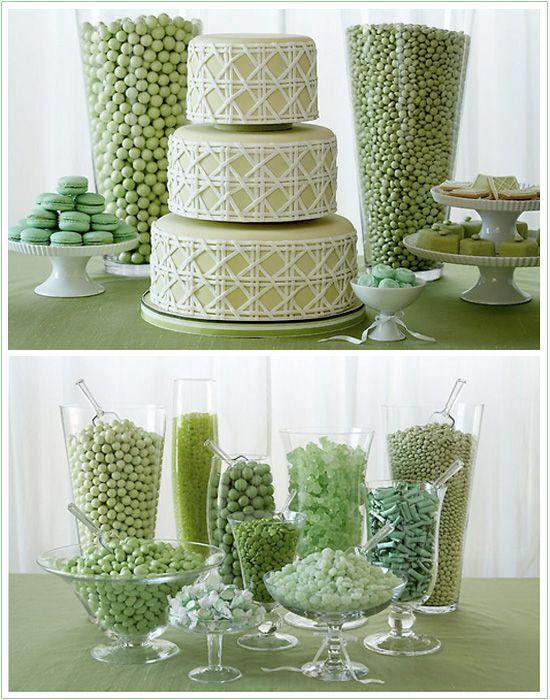 Color-coordinated candy & dessert bar. #mint #wedding #candy