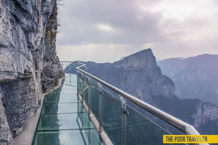 Suspended 4,000 feet above a ravine sits a glass walkway on Tianmen Mountain. Three feet wide and 2.5 inches thick, the walkway allows tourists to test fate and modern engineering. While the walk is not physically strenuous, the 70ft glass bridge takes a mental toll on those who decide to look down. Tourists are asked to wear shoe covers before crossing the bridge, as cleaning the glass is considered too dangerous.