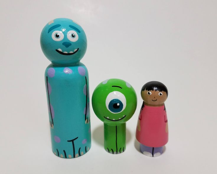 Monsters Inc. Peg Doll Set, Sully, Mike Wazowski and Boo, Wooden Monsters Inc. Wooden Figurines by RainbowPegDolls on Etsy https://www.etsy.com/ca/listing/571910086/monsters-inc-peg-doll-set-sully-mike