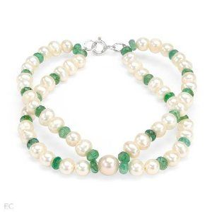 Sterling Silver Pearl and 11.2 CTW Emerald Ladies Bracelet. Length 7.5 in. Total Item weight 15.1 g. VividGemz. $45.00