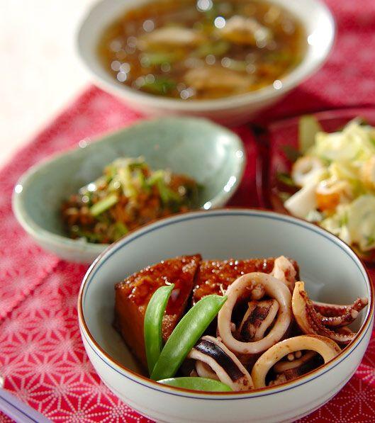 「厚揚げとイカの煮物」の献立・レシピ - 【E・レシピ】料理のプロが作る簡単レシピ/2009.05.21公開の献立です。