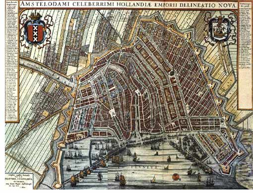 Old city map of Amsterdam