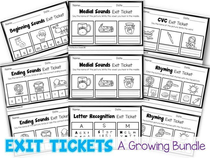 Kindergarten Exit tickets for Literacy.
