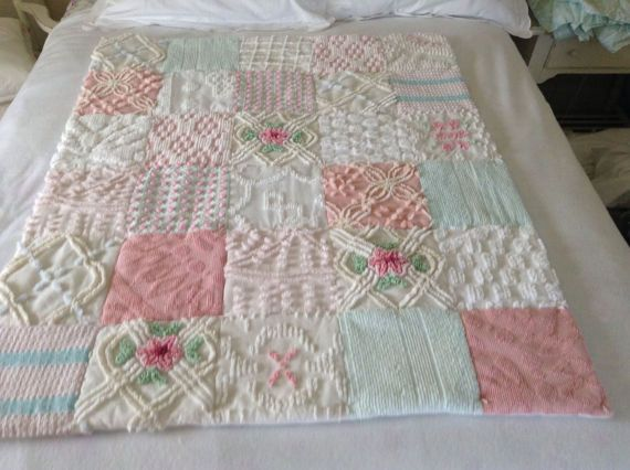 Quilt Chenille Vintage Bedspread Baby Blanket or Lap Throw by