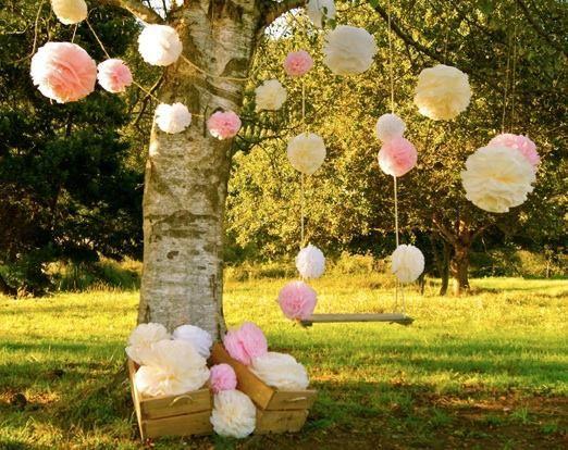 Oui Oui-pompones columpio árbol, maison pom poms, feria bodas vintage-love and vintage