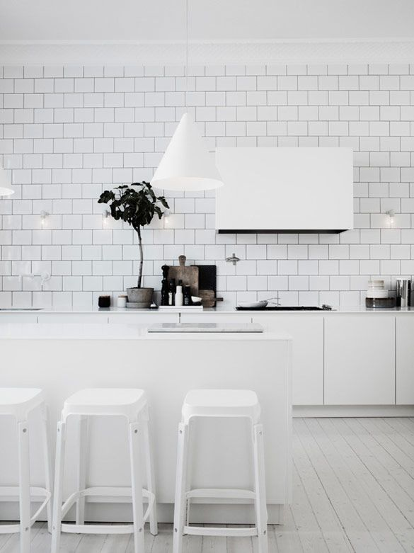White brick tile in white kitchen. Similar island stools and hood to mine. || The home of Lotta Agaton