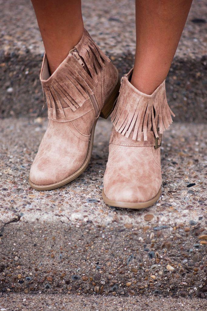 Short Glass of Fringe Boots, $34.00 #fringe #boots #bootie #suede #buckle #singlethreadbtq #shopstb #boutique