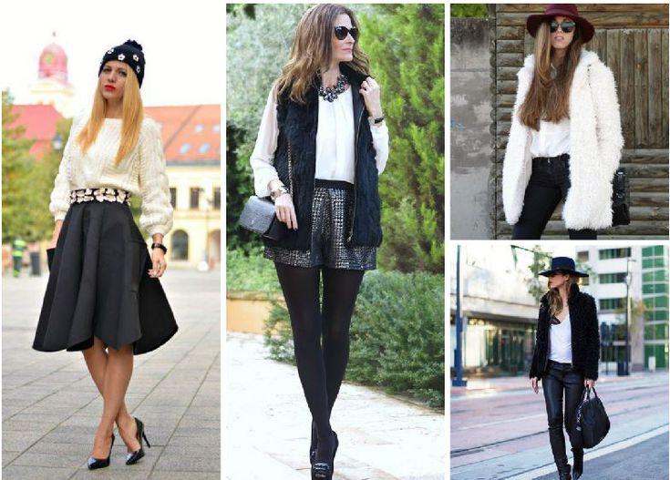 Klas ve sofistike siyah ve beyaz kış kombinleri 2015