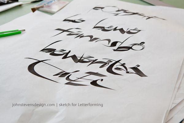 Wall Lettering for Letterforming Exhibition by John Stevens, via Behance