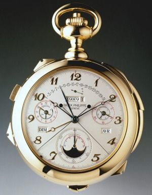 """The Calibre 89, a double-faced pocket watch. Its 33 complications include """"a patented system for indicating the moveable ..."""