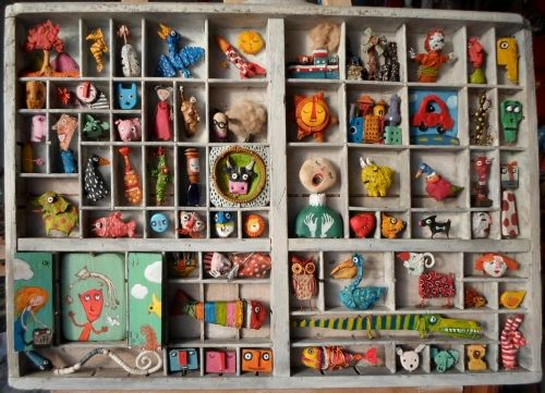 gérard collas,casier d'imprimeur,récup,assemblage,sculpture