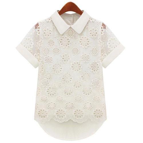 Pretty Doll Collar Lace Irregular Pierced Chiffon Shirt - lilyby