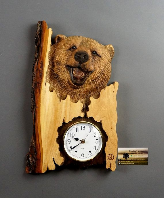Bear wall clock carved wood carving with barkhand by