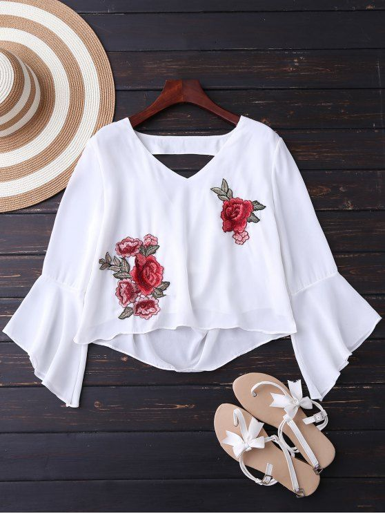 $15.99 Embroidered Rose Flare Sleeve Low Back Blouse - WHITE M
