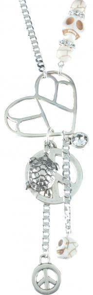 03313, ketting, necklace, swarovski, silver, beads, peace, skulls, Speelse ketting gemaakt met zilverkleurige materialen. Er hangen bedels aan in de vorm van een schildpad, een hart, een doodshoofd en een vredesteken. Versierd met enkele witte Swarovski stenen.