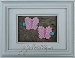 Pink and Turquoise Butterfly Hair Clips - hc010 -$5.00 for pair available on jLj Bowtique