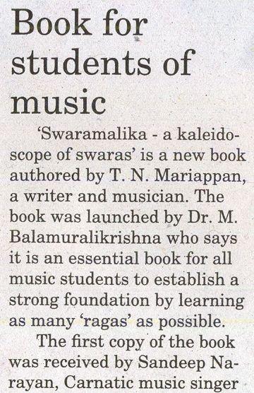'Swaramalika - a kaleidoscope of swaras' in Mylapore Times