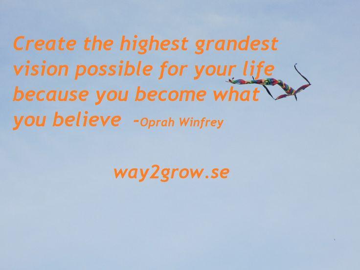 Våga skapa dig en vision över hur du vill att ditt liv ska bli och vara. Börja sedan arbeta mot att få det så. way2grow.se
