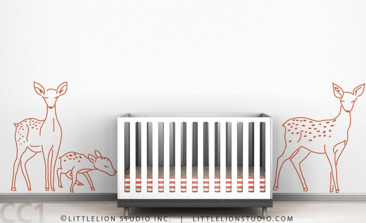 Kids wall decal deer family sillhouette outline white orange blue fawn wall decal for baby room - Deer Family Outline. $65.00, via Etsy.