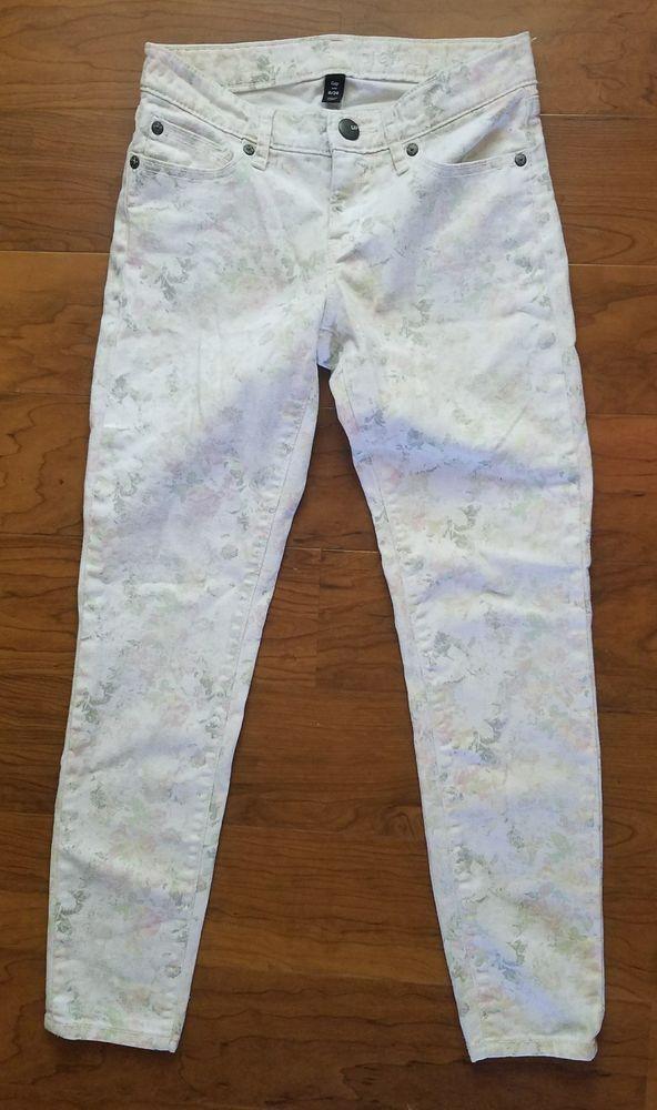 Gap Premium Super Skinny Ankle White Jeans Floral Print Size Juniors 0 / 24 #GAP #AnkleSlimSkinny