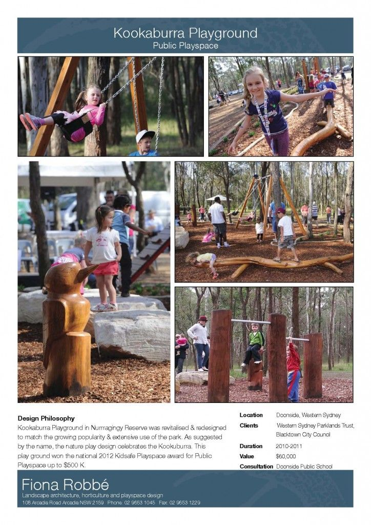 Award winning playspace designed by Fiona Robbe -  KOOKABURRA PLAYGROUND Project Sheet