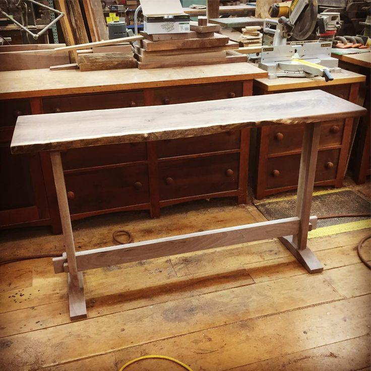 Small walnut tall bar table nearly ready for finish! #customfurniture #walnut #davidstinewoodworking