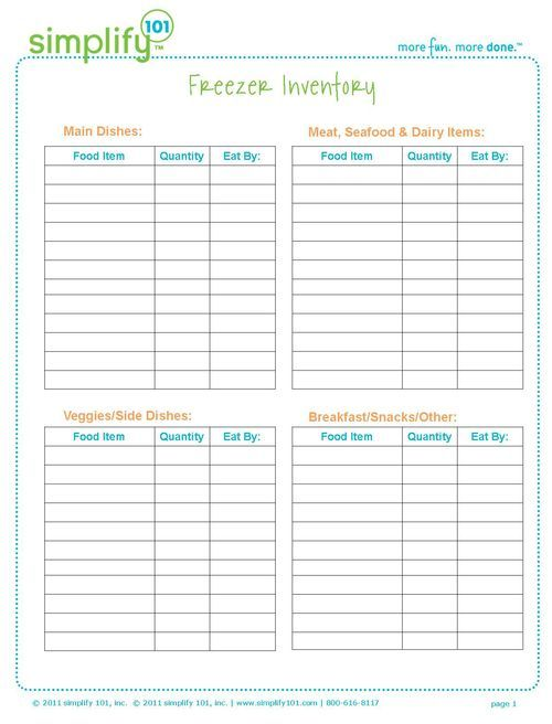 19 best Deep Freezer images on Pinterest Freezer cooking - free inventory sheets to print