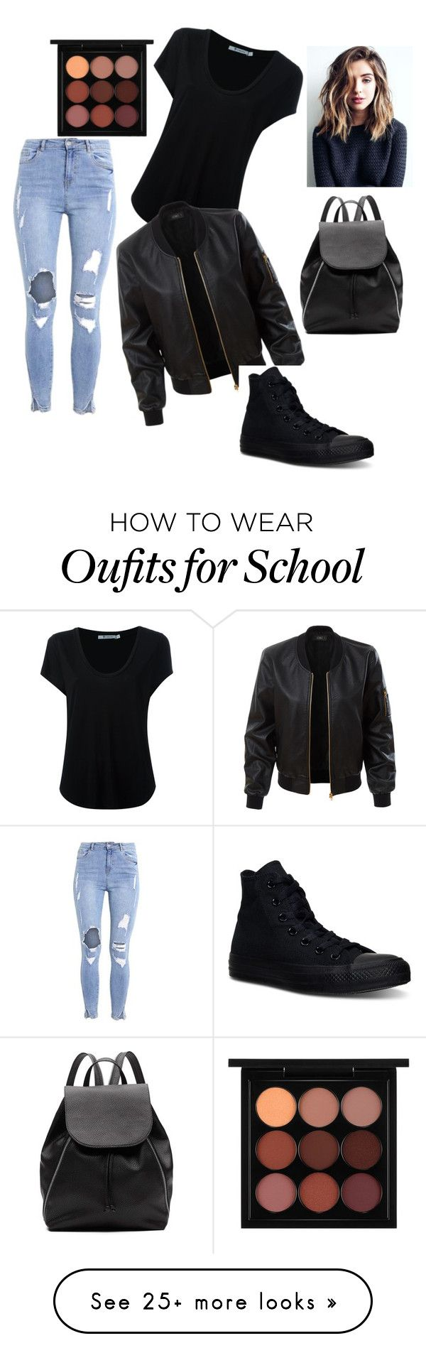 Back to school outfit by rachel-annelee on Polyvore featuring Alexander Wang, LE3NO, Converse, MAC Cosmetics and Witchery