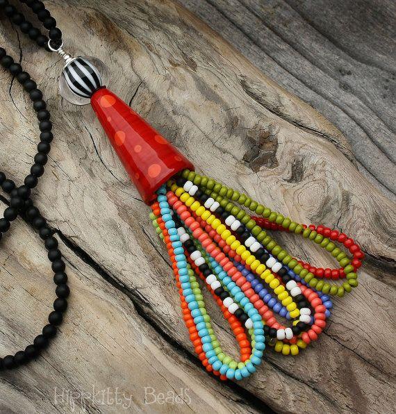 Fruit Loops II Lampwork Tassel Necklace by HippKittyBeads/etsy
