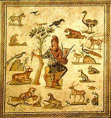 Orfeo, equivalente pagano al Rey David, prefigura a Cristo en su descenso a los Infieros.