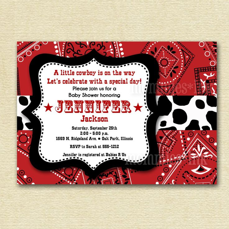 Western Cowboy Bandana Baby Shower Invitation - PRINTABLE INVITATION DESIGN