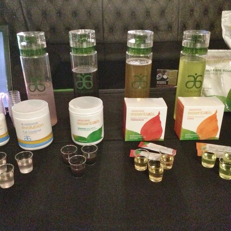 Tasting station for Essentials and Evolution range http://www.maimieyelland.arbonne.com