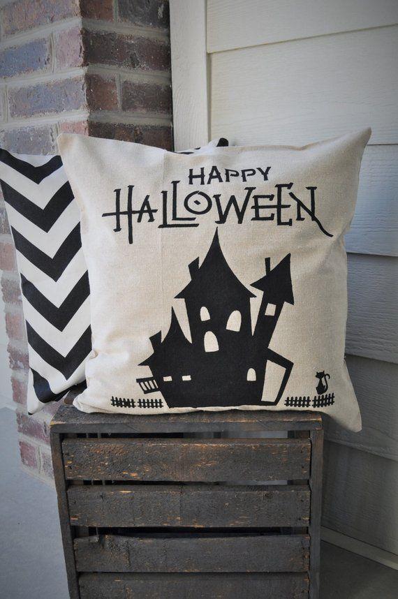 Halloween Pillow Cover, Haunted House Pillow Cover, Halloween Decor