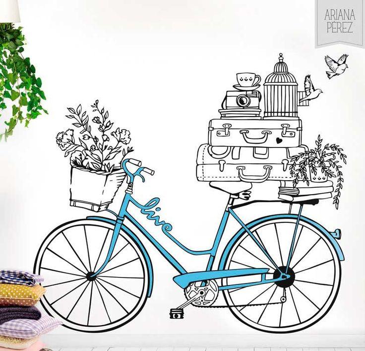 Vinilos decorativos - MyVinilo ® | Vinilo Decorativo Ariana Perez vintage bike