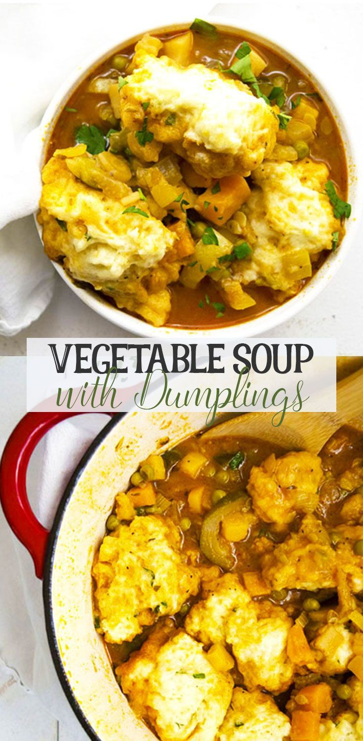 Vegetable Soup with Dumplings is a great hearty vegetarian dinner recipe. You won't even notice there is no meat! I love this warm bowl of soup.