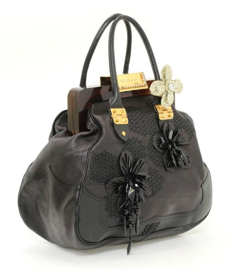 Zufi Alexander Black Leather & Beaded Floral Applique Frame Top Shoulder Bag #ZufiAlexander #ShoulderBag