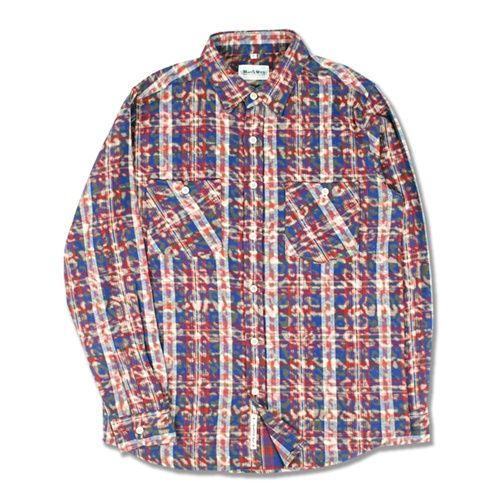 레오파드 패턴의 코튼 플란넬 타탄체크 셔츠
