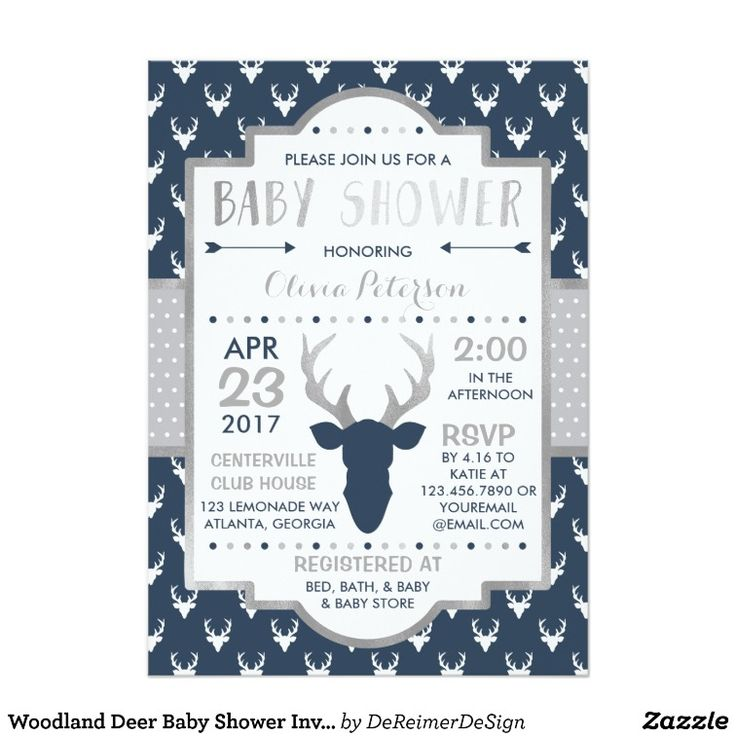 vintage woodland deer antler baby shower card – unitedarmy, Baby shower invitations
