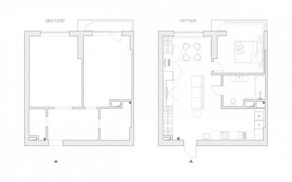 4 Small Studio Apartments Decorated in 4 Different Styles (All Under 50 Square Meters With Floor Plans)
