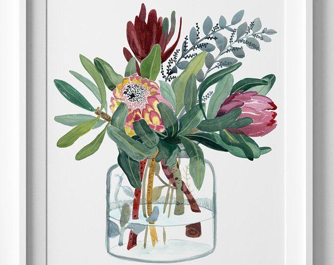 Australia Wall Art King Protea Watercolour Print Botanical Etsy Australia Wall Art Watercolor Flower Illustration Art Prints
