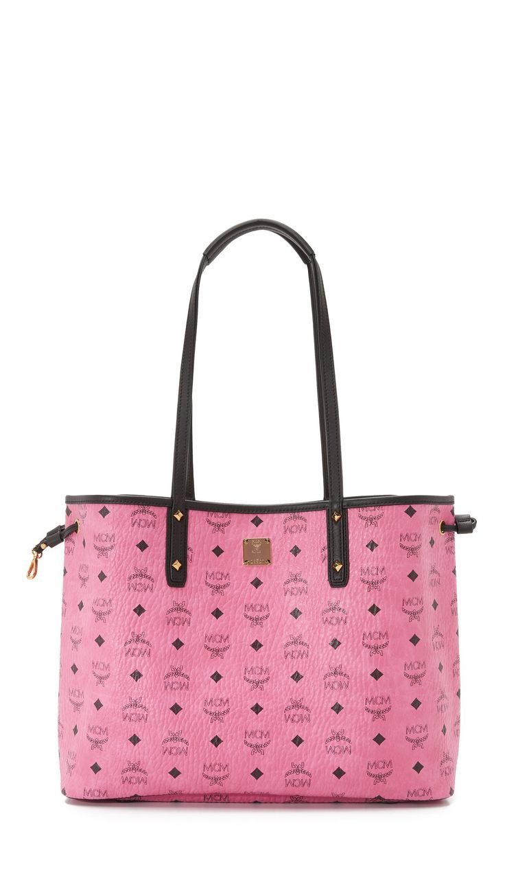 MCM Women's Shopper Tote, Pink, One Size. Coated canvas. Height 11.5in / 29cm. Width 14.25in / 36cm. Depth 6.25in / 16cm.