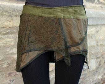 Mini Pixie skirt Goa Steampunk Psy Belt skirt by KimamaShop