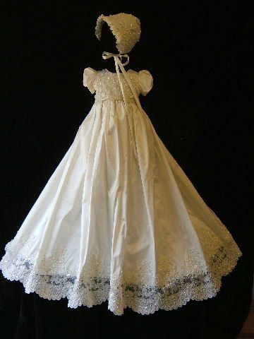 $278 lace and pearl christening gown set with bonnet, booties, bib, blanket, bloomers and custom monogram. Gorgeous.