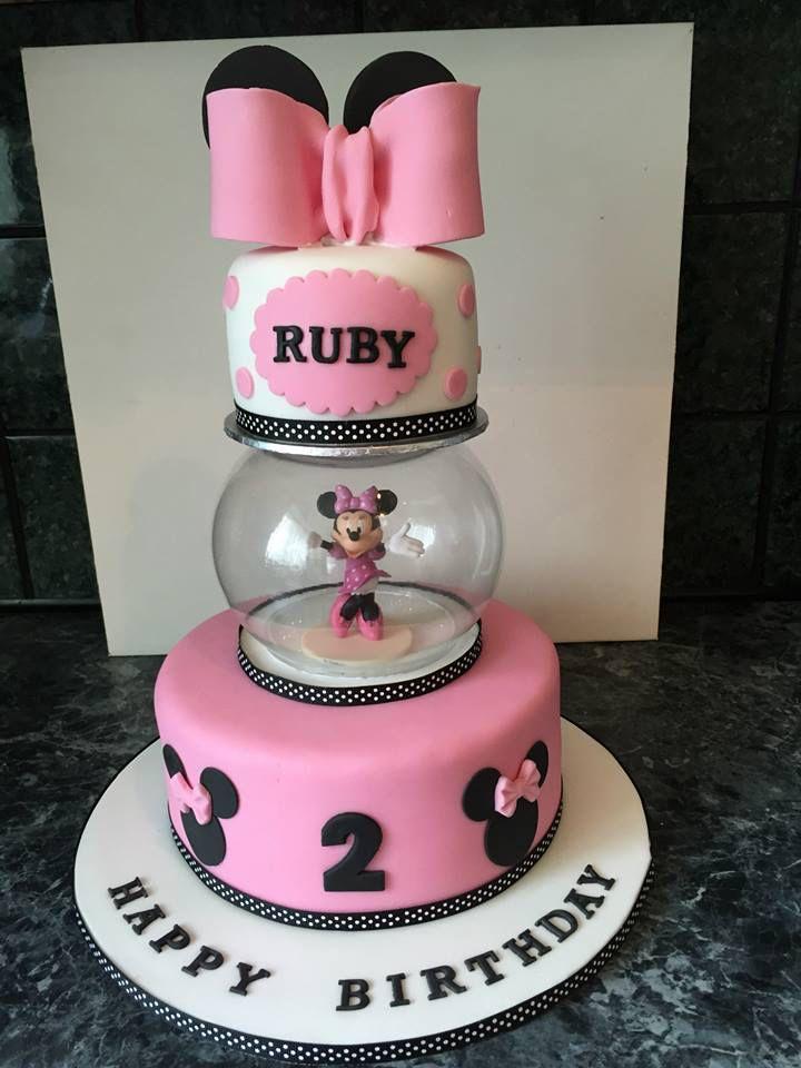 Minnie Mouse themed globe cake, bottom vanilla top cake rich chocolate fudge x