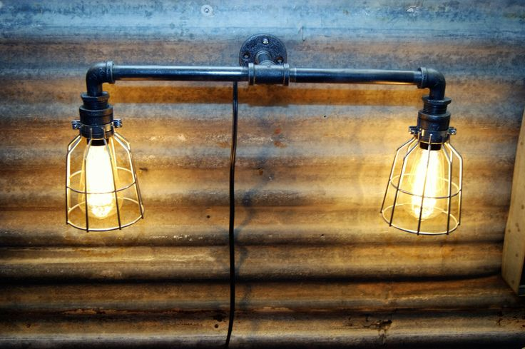 Industrial Farmhouse Iron Pipe 2 Wall Light with Cage