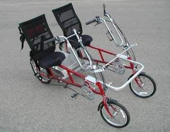 """Pinner says, """"Quadribent™ Side-by-Side Recumbent Bikes. Better than sitting behind someone watching their patootie pedal away. Love the carriage on the back for items or pets or a nice picnic basket. Coolness. Pricy at 2K+ but would bring years of fun. Thinking the commute to work would be a hoot."""""""