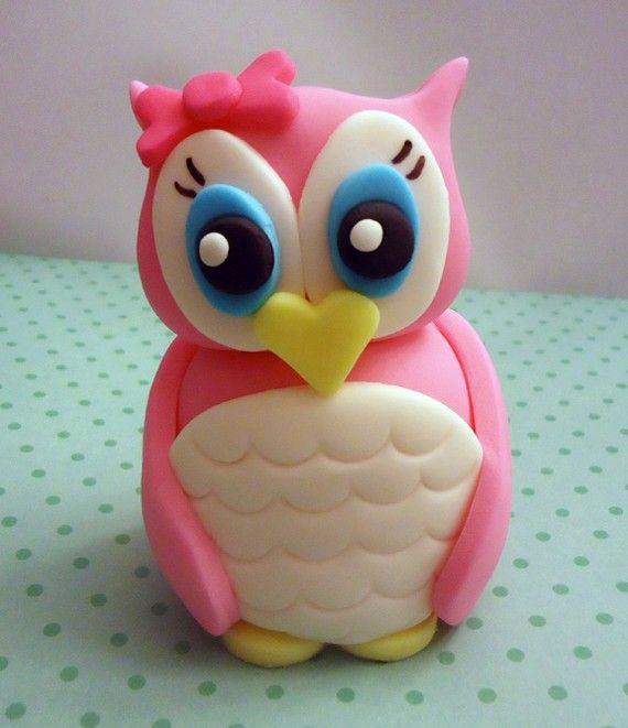 #Pink owl #fondant #cake #topper