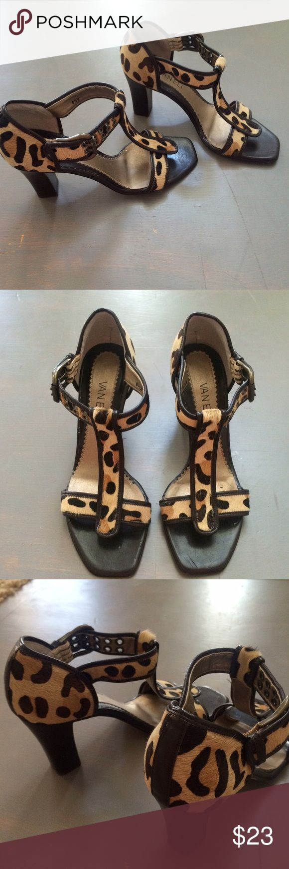 "Vaneli Animal Print Heels Sandals 6.5 -gently worn gorgeous heels  -some obvious wear on inside see pic 4 -some wear on bottom  -3 & 1/2"" heel Vaneli Shoes Heels"