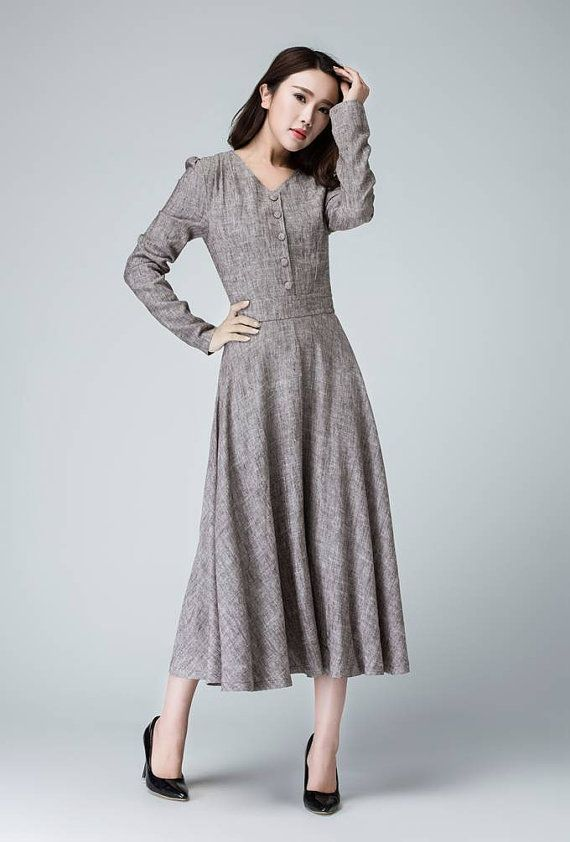 This is a spring linen dress